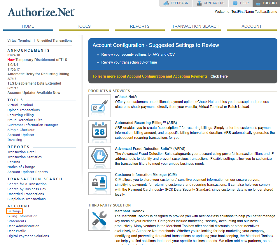 Authorize.Net Integration