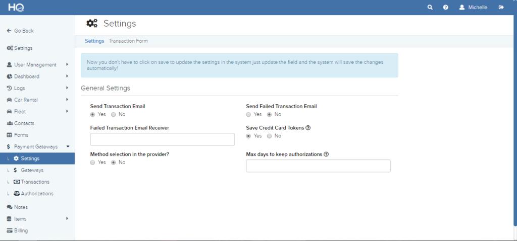 Payment Gateway Settings