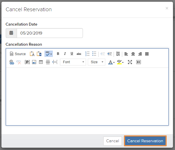 Cancel Reservation box